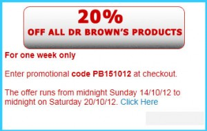 20% off Dr Browns Baby